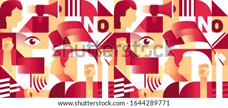 Geometric Seamless Pattern with  Protesters Women. Revolution, Conflict, Feminism or Protest Concept. Vector illustration