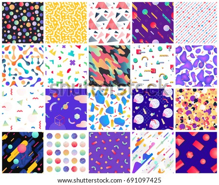 Geometric seamless patterns. Colorful geometric background set. You can use these patterns as banners, business cards, festive decorations, greeting cards and for your ideas.
