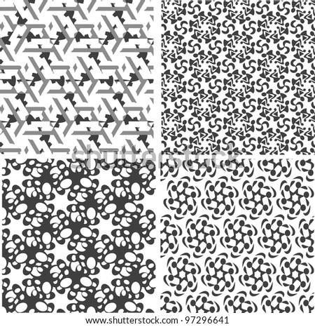 Geometric seamless patterns set, black and white. Vector backgrounds collection