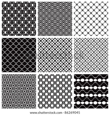 Geometric seamless patterns set, vector backgrounds collection.