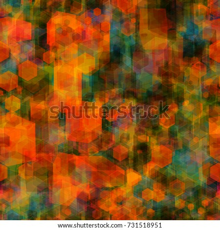Stock Photo Geometric seamless texture from 3d cubes and hexagons. Orange and green colors. Abstract vector background for web page, banners, fabric, home decor, wrapping