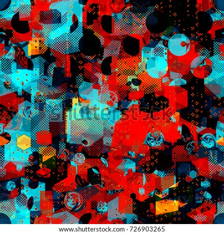 Geometric seamless texture from squares, 3d cubes, round elements, dots. Abstract vector background. Urban pattern for sport, boys design, fabric, home decor, wrapping