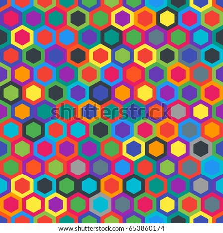 Geometric seamless texture with hexagons. Colorful pattern. Abstract background. Colors material design. Perfect combination.