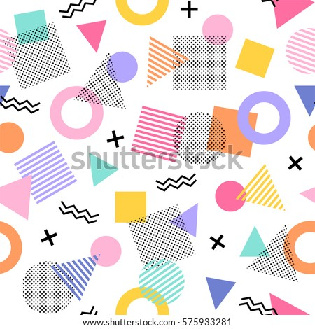 Geometric seamless vector pattern in memphis style