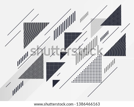 geometric shapes background black and white and grey set texture #1386466163