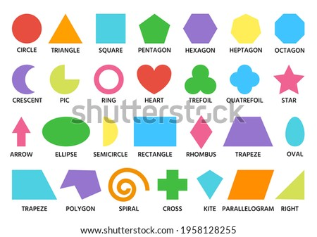 Geometric shapes color set signed. Square, triangle, circle math figure child preschool activity. Kindergarten logic kid lessons, skill play puzzle cartoon style shapes isolated on white background Foto stock ©