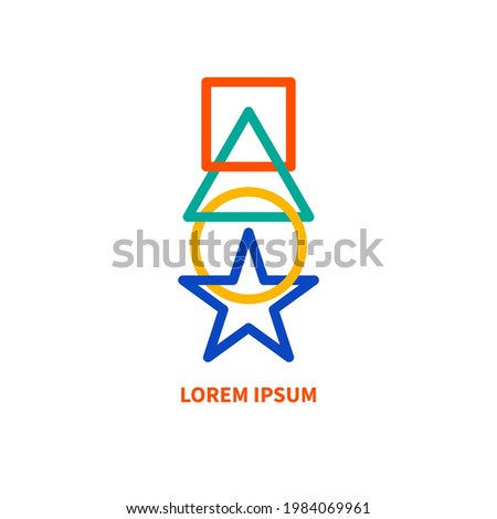 Geometric shapes connected to each other. Connected square, circle, triangle, star. Business logo. Abstract link icon. Foto d'archivio ©