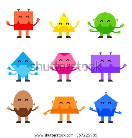 geometric shapes funny monsters