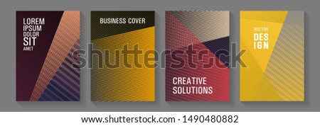 Geometric shapes line texture templates. Creative leaflet backdrops. Triangle element layers modern patterns. Advanced technological concept. Educational brochure covers set.