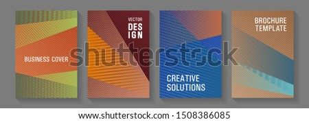 Geometric shapes line texture templates. Magic notebook frameworks. Minimalistic certificate backdrops. Editable web landing page graphics. Covers set with logo identity spaces.