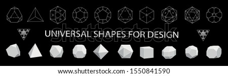 Geometric Shapes сollection black icons.Linear design elements.Geometric icon,geometric pattern,geometric shape,label,monogram,hexagons,triangles,squares,circles.Vector.Isolated on white