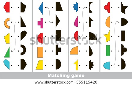 Geometric shapes set to find the correct shadow, the matching educational kid game to compare and connect objects and their true shadows, simple game level for preschool kids education.