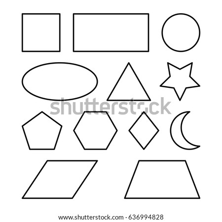 geometric shapes square, circle, oval, triangle, hexagon, rectangle, star,heart,rhombus vector symbol icon design. Beautiful illustration isolated on white background