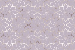 Geometric silver glitter flowers lattice seamless pattern.