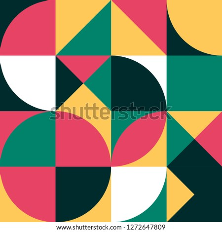 Geometric simple colored seamless pattern. Abstract artwork minimalistic poster. Scandinavian geometry background of shapes and shapes for presentation, book cover, fabric, wallpaper, packaging