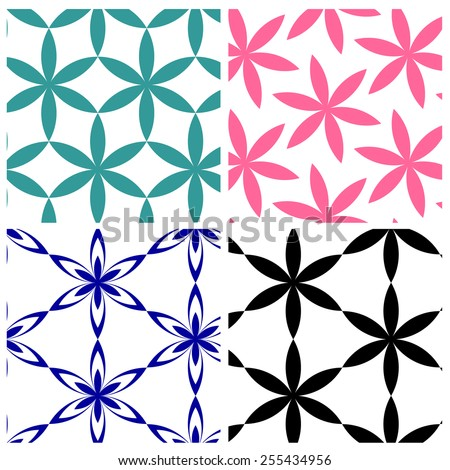 geometric six petals flowers