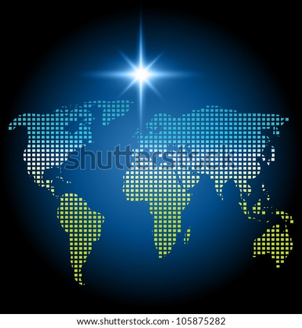 Geometric (squares) map of world with north star  esp10 - stock vector