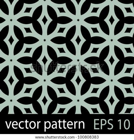 Geometric stars pattern on dark backdrop. Seamless vector background