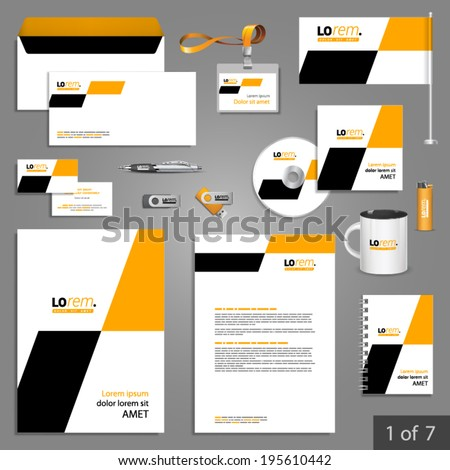 Geometric stationery template design with yellow and black square shapes Documentation for business