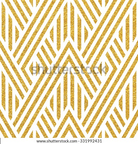 Geometric striped ornament. Vector gold seamless patterns. Modern stylish texture. Gold linear braids. Trendy gold glitter texture