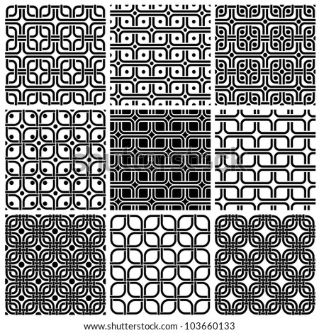 Geometric style seamless patterns set, lines nets vector background collection.