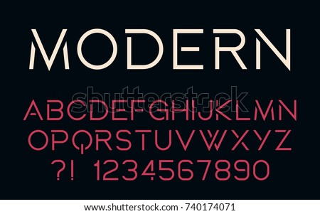 Geometric technology font Modern design Bold letters and numbers Vector abc