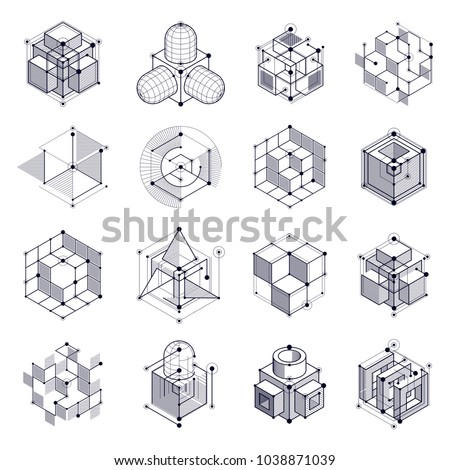Geometric technology vector black and white drawings set, 3D technical wallpaper. Illustration of engineering system, abstract technological backdrop. Abstract technical background.