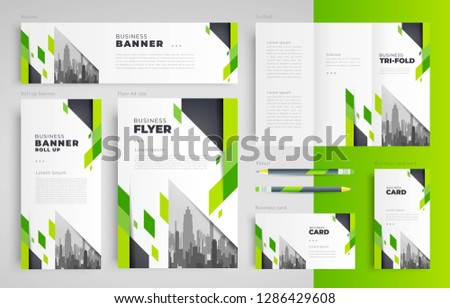 Geometric theme Set flyer cover, tri-fold, banner, roll up banner, business card green color