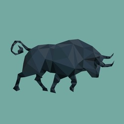 Geometric trade bull. Low poly.