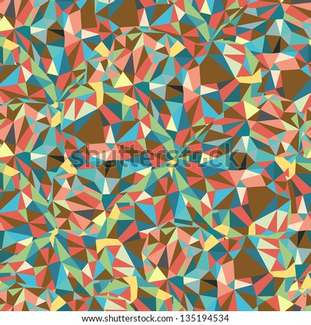 Geometric Triangle Shape Seamless Pattern. Retro pattern of geometric shapes. Colorful mosaic banner. Autumnal colors. Vector Illustration