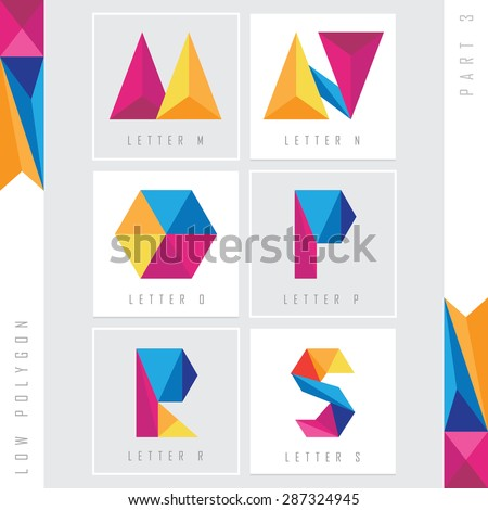 geometric triangular low polygon alphabet letters m, n, o, p, r and s. Colorful abstract logo elements Stock fotó ©