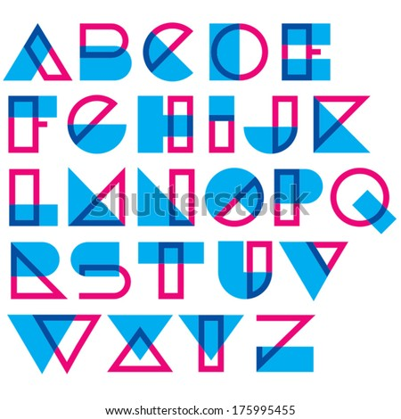 Geometric type. Blended lines and shapes