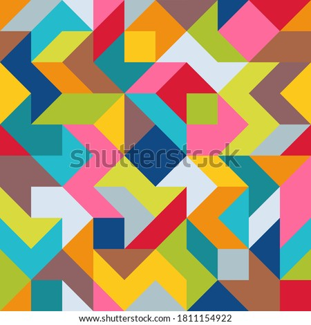 Geometric Universal Abstract Asymmetric Seamless Pattern of Simple Angular Geometric Shapes. Color Palette with Harmonious Composition. Graphic Continuous Background from Different Figures. Foto stock ©