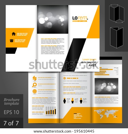 Geometric vector brochure template design with yellow and black square elements