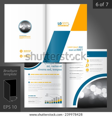 Geometric vector brochure template design with yellow and blue square elements