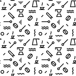 Geometric Vector coffee pattern with black and white. Form a triangle, a line, a circle. Hipster fashion. Memphis style.