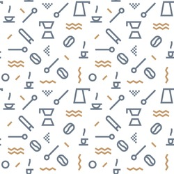 Geometric Vector coffee pattern with colors dark grey and brown. Form a triangle, a line, a circle. Hipster fashion. Memphis style.