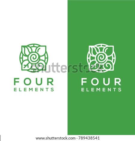 geometric vector, four elements logo template