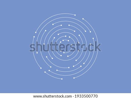 Geometric vector illustration with line and dots.