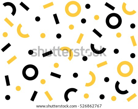 Geometric Vector pattern with black and white. Form a triangle, a line, a circle. Hipster fashion Memphis style.