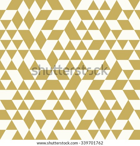 Geometric vector pattern with white and golden triangles. Seamless abstract background