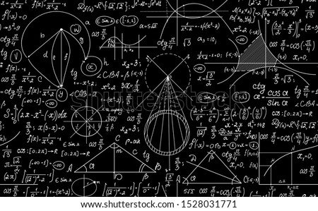 Geometric vector seamless pattern with handwritten math formulas, plots and figures