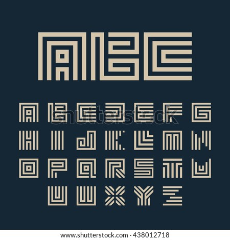 Geometric vector white color alphabet letters set. Monogram symbols collection on the dark blue background. Unusual typography elements group.