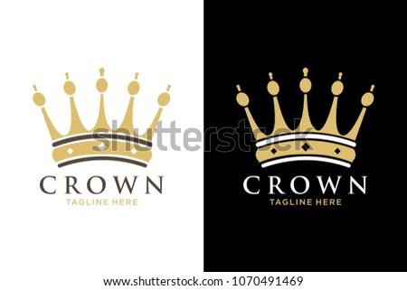 Geometric Vintage Creative Crown abstract Logo design vector template. Vintage Crown Logo Royal King Queen concept symbol Logotype concept icon.
