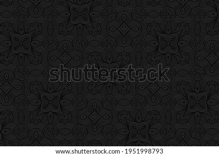 Geometric volumetric convex black background. Ethnic African, Mexican, Indian motives. 3d embossed national colorful pattern.Trendy craft style for wallpaper.  Foto stock ©