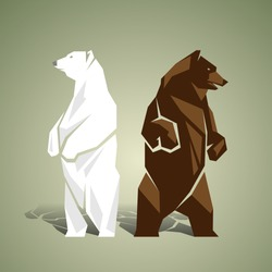 Geometric white and brown bears