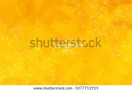Geometric Yellow Polygonal background molecule and communication. Connected lines with dots. Minimalism background. Concept of the science, chemistry, biology, medicine, technology.