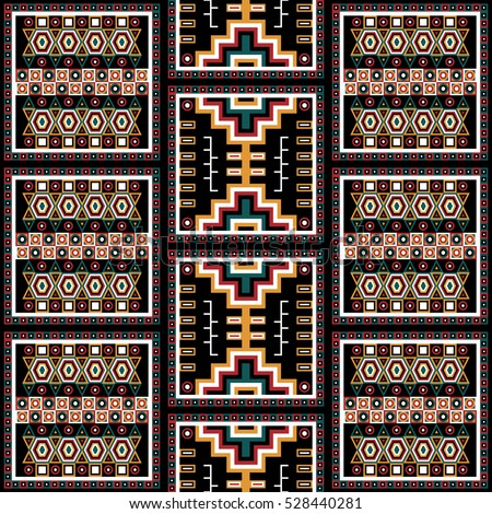 Geometrical abstract pattern from decorative ethnic ornament elements .  African, Mexican, Turkmen texture (background) for packing, textile, interior, web design. Vector illustration.