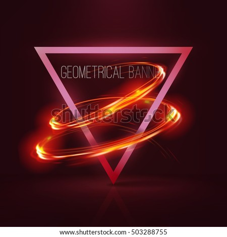 geometrical banners with neon