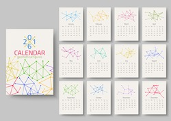 Geometrical calendar of 2016. Vector illustration